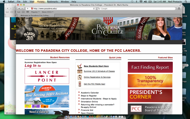 The homepage of PCC.